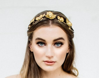 Flora Halo, Gold flower crown, Flower Halo, Gold Headpiece, bridal tiara, flower headband, bohemian, flower wreath, bridal halo, boho #141