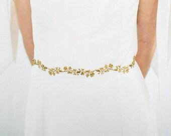 Lilia Sash, Wedding Sash, Bridal Belt, Flower Sash, Leaf Sash, Leaf belt, Bridal sash, flower belt, boho sash, Wedding belt, bohemian #146