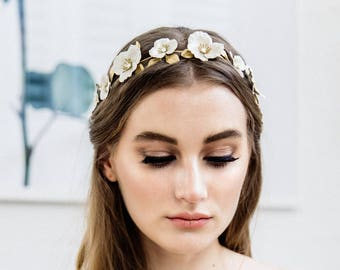 Flora Halo, Ivory flower crown, Flower Halo, Gold Headpiece, bridal tiara, flower headband, bohemian, flower wreath, bridal halo, boho #141