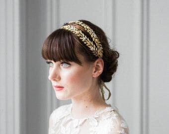 Juliette Headband, bridal headband, gold leaf headband, bridal headpiece, flower crown, bridal tiara, gold headpiece, gold hair vine #125