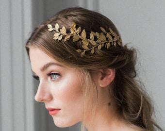 Alena Wrap Headpiece, Gold Crown, Bridal Headpiece, Boho Headpiece, Bridal Hair Vine, Halo Crown  #240