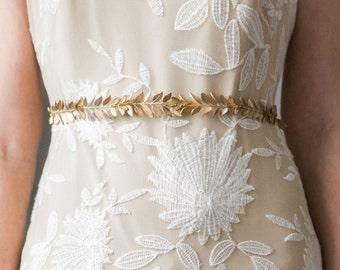 Laurel Leaf Sash, Wedding Sash, Bridal Belt, Gold or Silver Leaf Sash, Bridal sash, leaf belt, greek goddess, boho sash, wedding sash #400