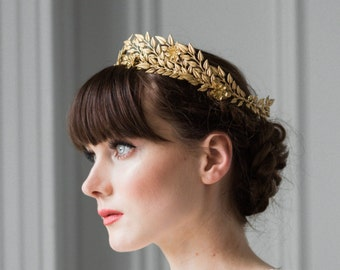 Edwardian leaf circlet, bridal halo crown, gold tiara, flower crown, woodland hair crown, leaf crown, leaf headpiece, flower tiara #106