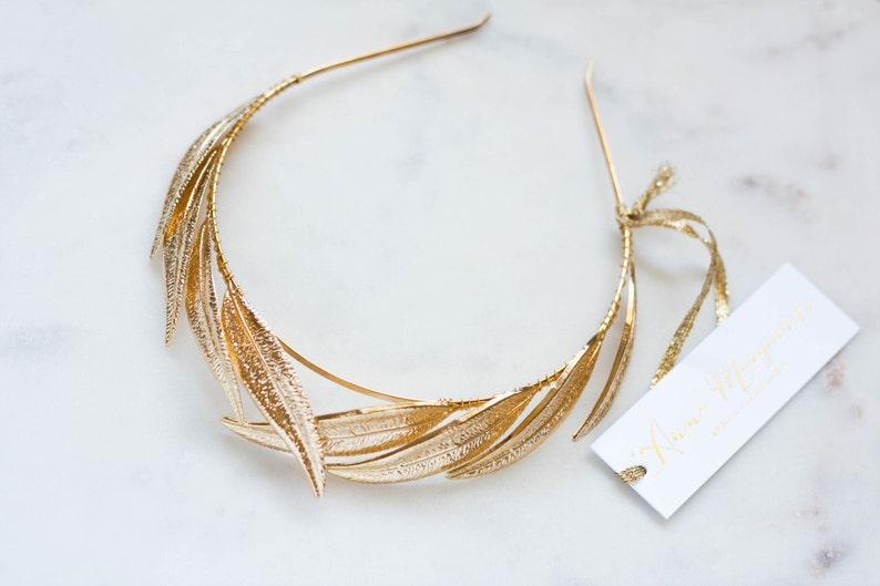boho Gold Leaf Headband bridal tiara Gold Tiara Gold Leaf Headpiece Leaf Halo fall #147 Woodland Alethea Leaf Tiara leaf crown