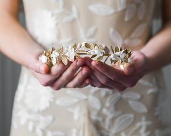 Goddess Flower Crown, gold leaf headpiece, bridal tiara, gold tiara, flower halo, flower crown, bridal leaf crown, gold headpiece  #107