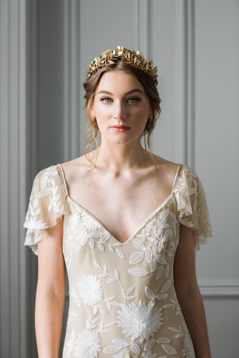 Laurel Leaf Tiara Bridal Crown Bridal Tiara Gold Tiara image 0