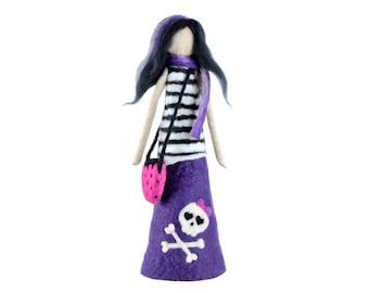 Emo figurine, alternative decor, teenage girl gift, gothic doll, skull home decor, goth figure, emotional girl, emo teen room decor [F19]