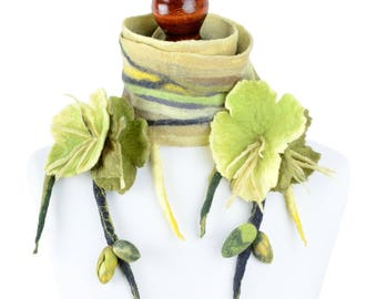 Felted spring scarf with bright flowers, optimistic vivid scarf in yellow & green for women and teenage girls, lightweight nuno felt [S29]