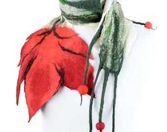 Nuno felt scarf with red tulip, original & feminine accessory, nuno felted flower scarf, natural women scarf with lightweight design [S20]