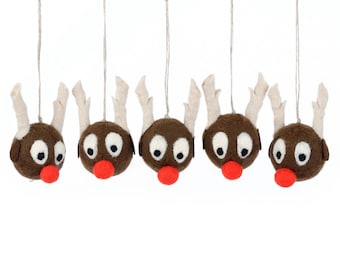 Felted reindeer ornaments in the shape of Rudolph the Red-Nosed Reindeer, hanging ornaments for Xmas tree, set of felted decorations [H15]