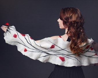 White wedding scarf for a bride or bridesmaid - felted bridal shawl with red flowers - romantic wedding accessory for autumn & winter [S4]