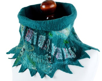 Teal cowl scarf for women with unique design, felt tube scarf made of sea green merino wool, designer snood scarf, natural women cowl [IS20]