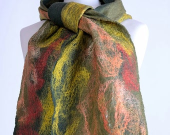 Olive cobweb scarf, lightweight scarf felted of pistachio merino wool and silk fibers, sheer & thin breathable scarf [S131]