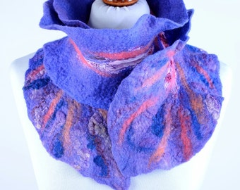 Blue scarf handmade of merino and silk - nuno felted scarf in blue & purple - warm neck scarf, comfortable and beautiful felt scarf [S259]