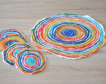 Colorful coasters with rainbow design felted of natural wool, set of 5, joyful round trivets, eye-catching home & kitchen table decor [H10]