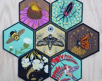 Embroidered Patches Endangered Pollinator Patch Series / Iron On Patch / Flower of Life / Hive Insect Love