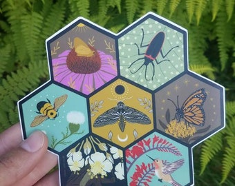 Vinyl Sticker: Endangered Pollinator Series / Large Bumper Sticker / Flower of Life / Hive Insect Love