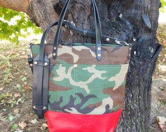 ec6b045367fc Camo Tote with Leather Bottom Leather Handles Shoulder Strap Zipper Closure  - Large Camo   Red Color Blocked Tote