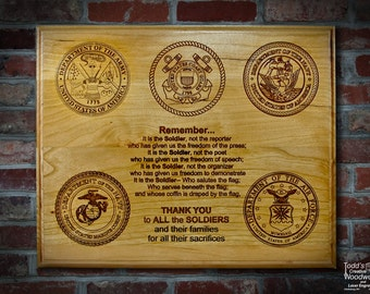 Engraved Military Plaque Army Navy Marines Air Force and Coast Guard