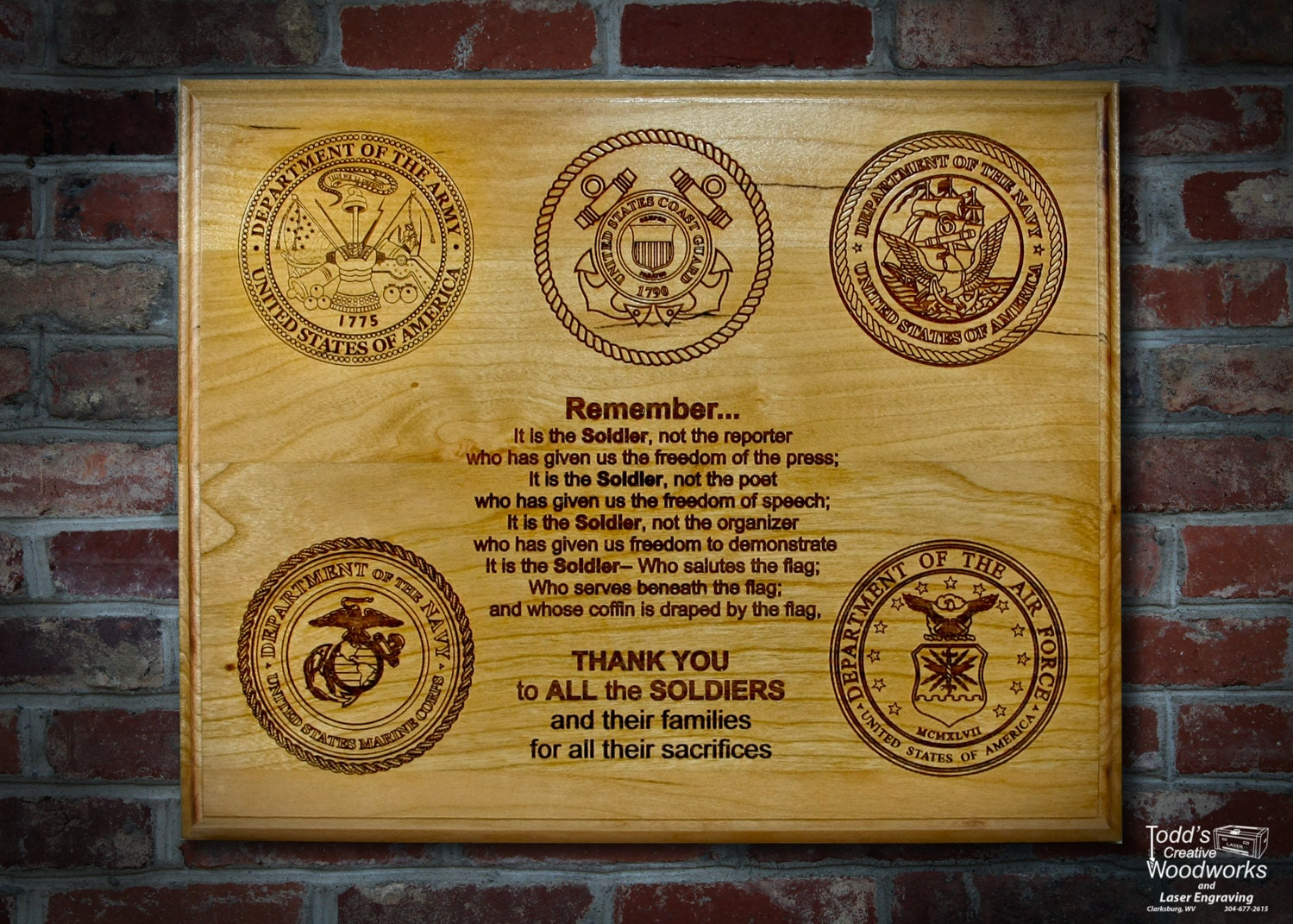 Engraved Military Plaque Army Navy Marines Air Force and Coast