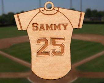 Personalized Wooden Baseball Shirt Christmas Ornament