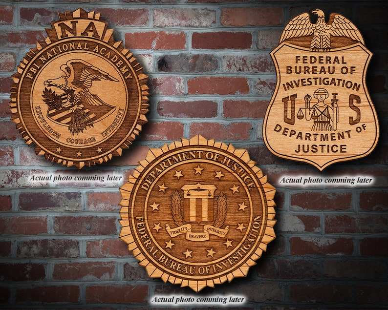 Wooden Fbi Badge Or Emblem Plaque Etsy Fbi agent replica wooden badge plaques made from solid mahogany this federal bureau of investigation (fbi) agent replica wooden badge plaque is hand carved and finished by our expert. etsy