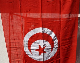 Antique Ship Flag Country of Tunisia