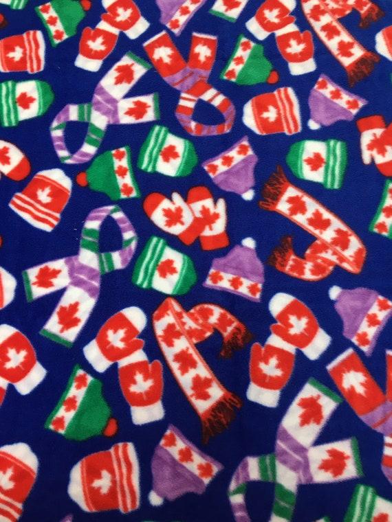 330b636c95c CANADA CANADIAN Maple Leaf Flag Print Fleece FABRIC Hats Mittens Scarves  106 cm x 157 cm, 42
