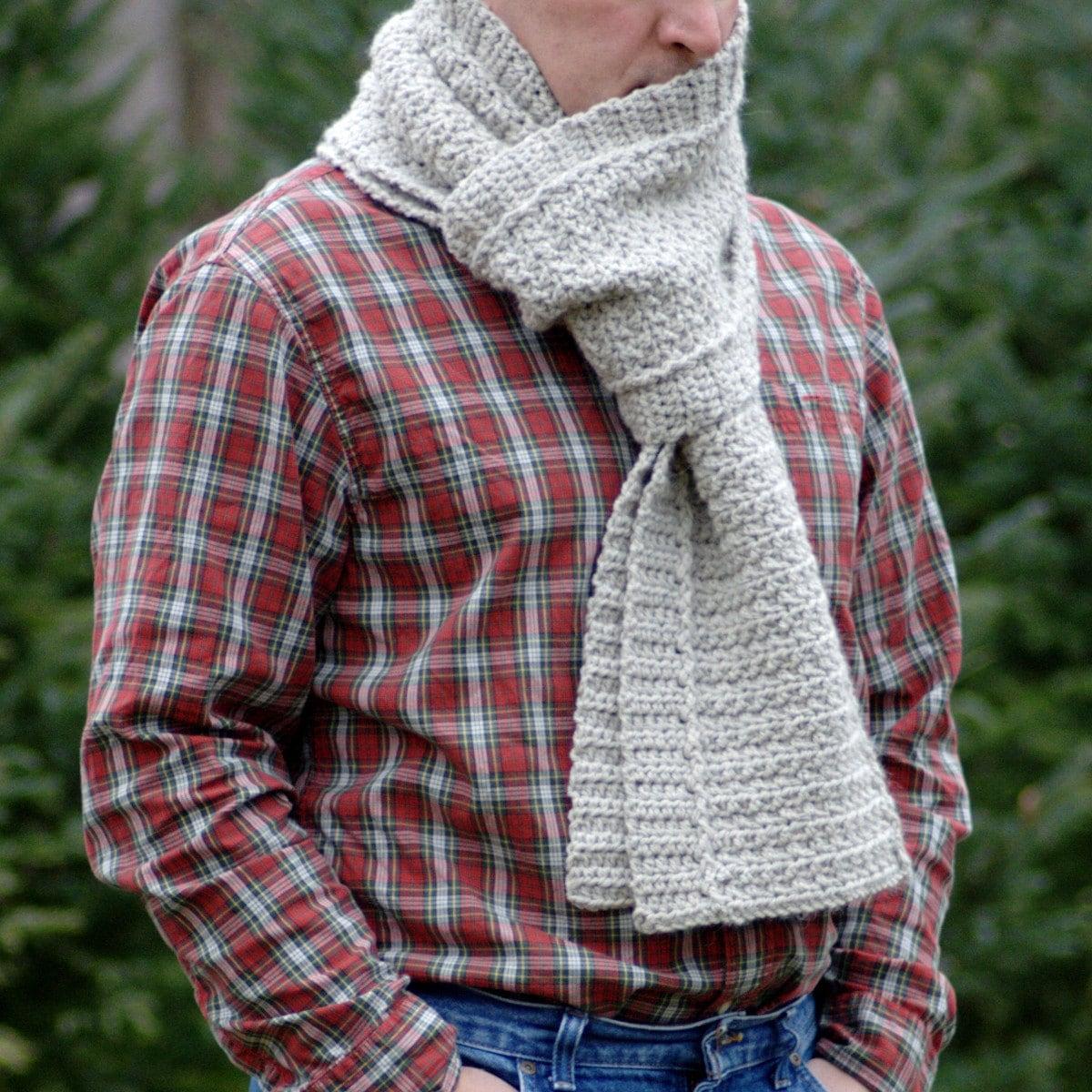 Crochet Pattern - Mens Crochet Scarf Pattern Winter DIY Scarf Mens ...