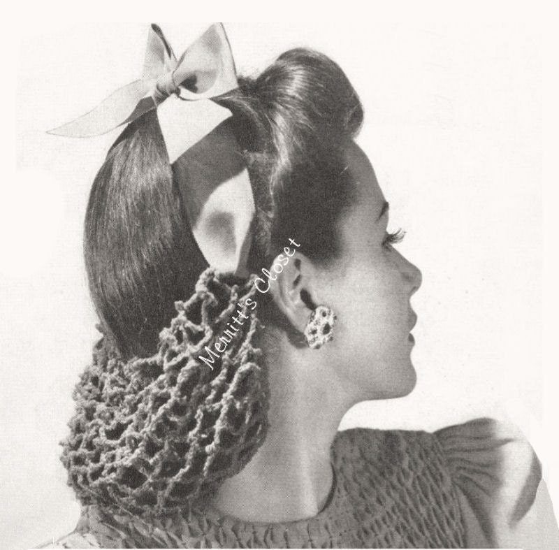 Ribbon Hair Snood Vintage Crochet Pattern Instant Download Etsy