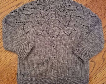Child's Jiffy Petal Cardigan in 2 Sizes, 6-8 and 8-10, Vintage Knitting Pattern, Top Down knitting Pattern, INSTANT DOWNLOAD PDF