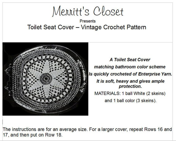Miraculous A Pattern To Make A Toilet Seat Cover To Match Decor Vintage Crochet Pattern Instant Download Pdf Theyellowbook Wood Chair Design Ideas Theyellowbookinfo