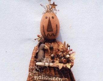 Primitive PATTERN Halloween Pumpkin Girl