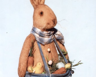 Primitive PATTERN Prim Bunny with His Basket Pants