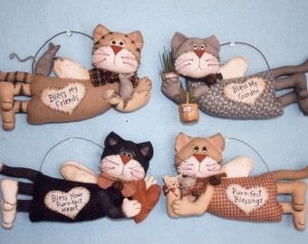 Primitive PATTERN Kitty Cat Blessings