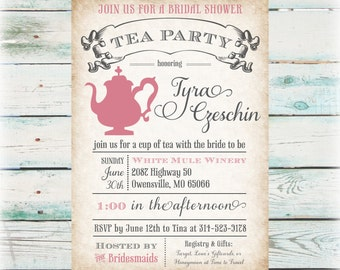 tea party bridal shower invitation diy digital file
