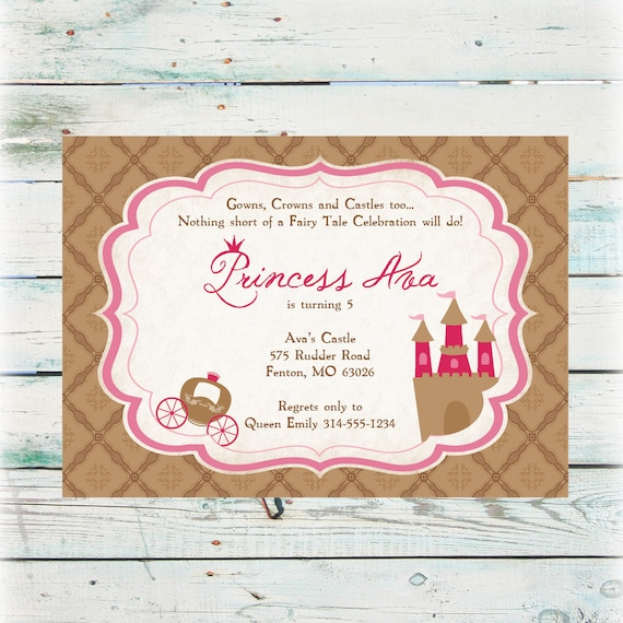 printable princess birthday invitations