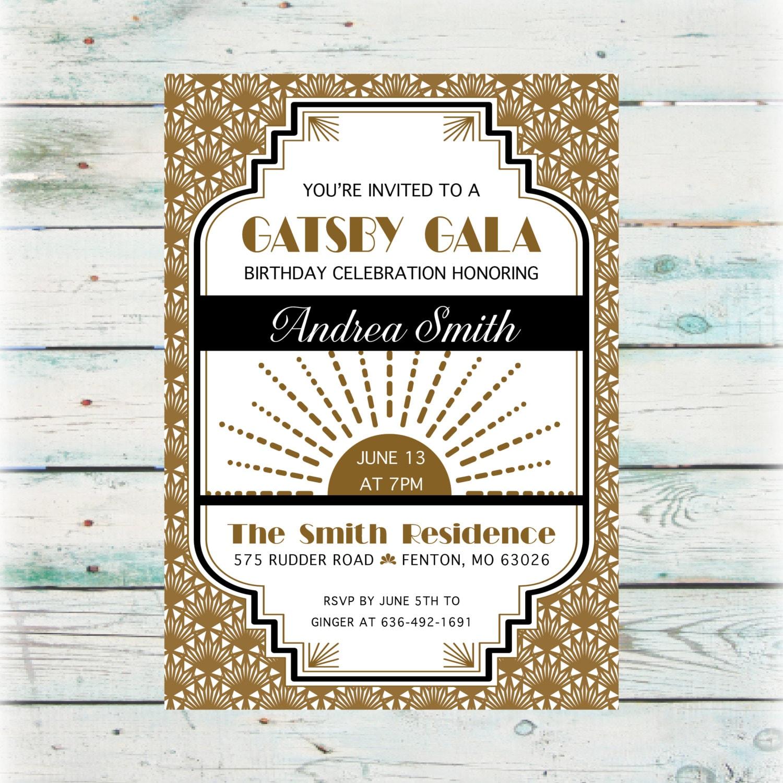 Printable Great Gatsby Birthday Invitation DIY Birthday   Etsy