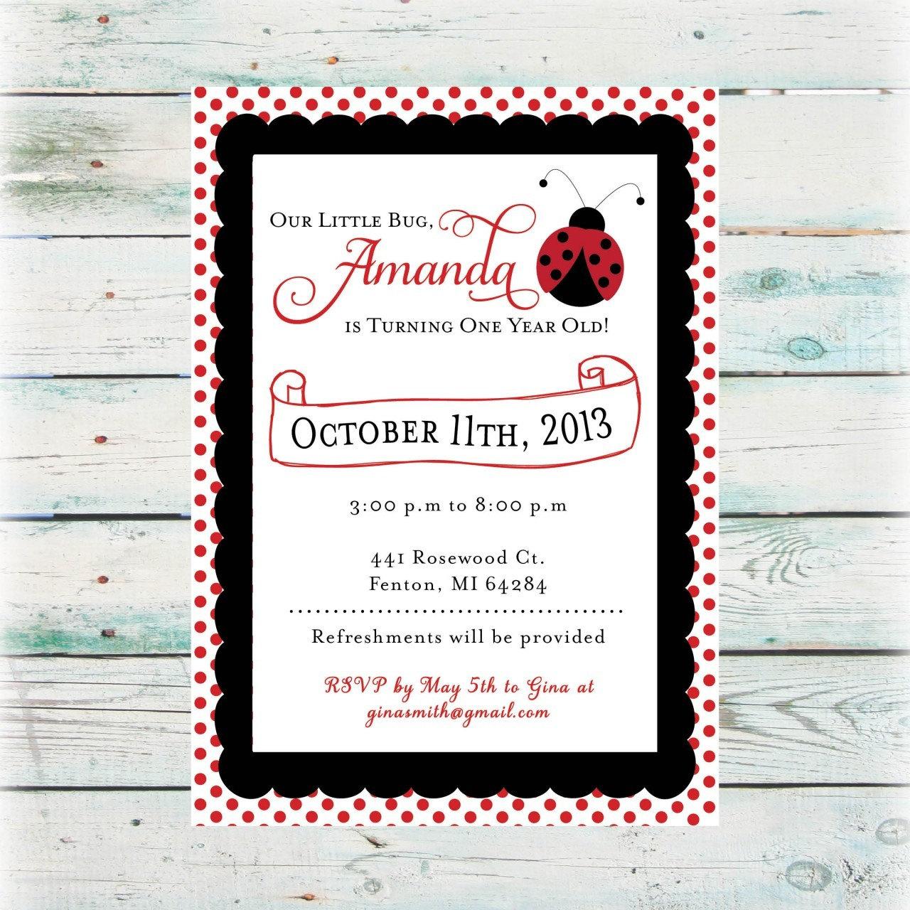 Printable Birthday Invitation Girl Ladybug Birthday Invite | Etsy