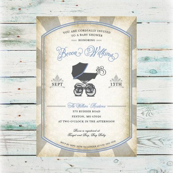 Printable vintage baby buggie baby shower invitation digital etsy image 0 filmwisefo