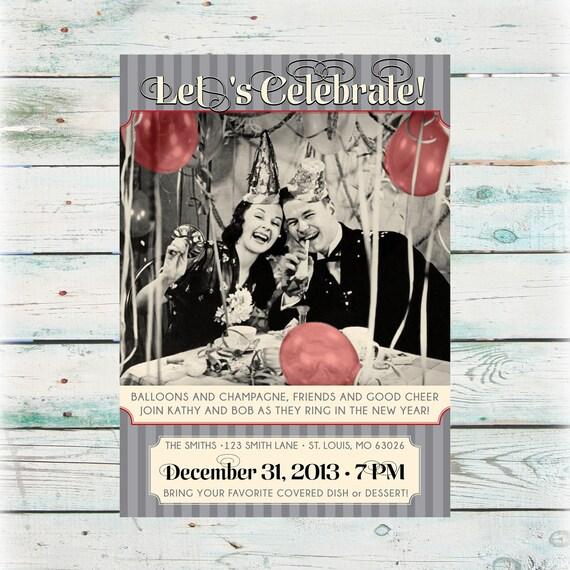 Printable Vintage New Year Party Invitation Digital File Etsy