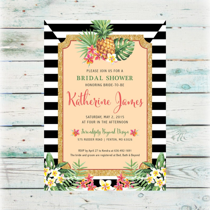 Printable Pineapple Bridal Shower Invitation DIY Tropical Bridal Shower Invitation