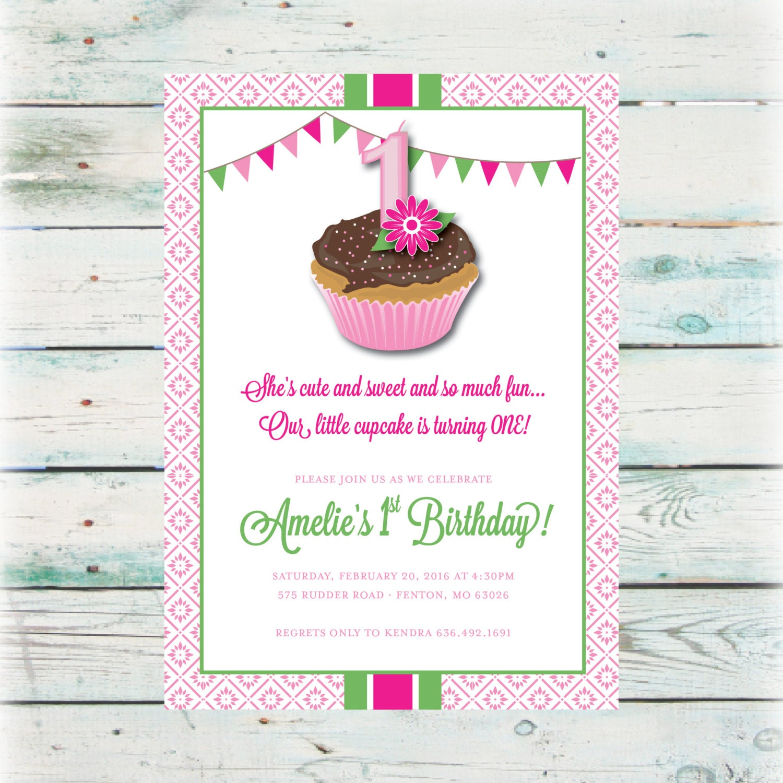 Printable cupcake birthday invitation digital file etsy zoom filmwisefo