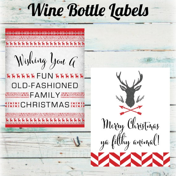Christmas Wine Bottle Labels Holiday Wine Bottle Labels Etsy