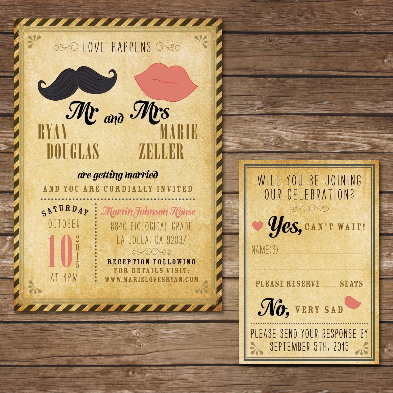 Invitación de boda Hipster imprimible con la tarjeta de RSVP | Etsy