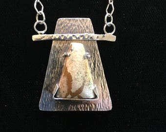 Earthy Ocean Jasper Pendant in Unique Sterling Silver Setting