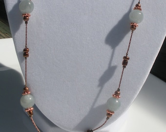 Delicate Copper Chain Necklace with Suspended Blue Amazonite and Copper Beads