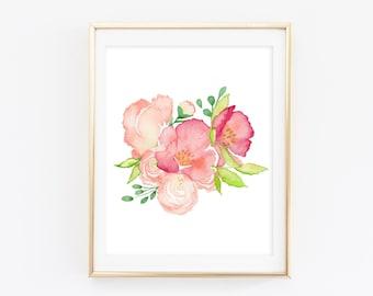 Watercolor Peonies - Watercolor Floral Print - Floral Nursery Print