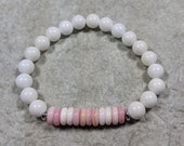Casual, Feminine Conch shell and Mountain Jade Stretch Bracelet