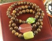 Sandalwood and Semi-Precious Stone Stretch Bracelets
